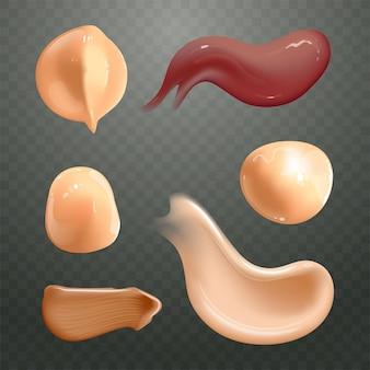 Zestaw realistycznych rozmazy kremów kosmetycznych. produkt do pielęgnacji skóry w różnych kolorach ciała.