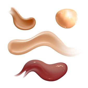 Zestaw realistycznych rozmazy kremów kosmetycznych. tonik do skóry o różnych kolorach ciała. balsam gładki rozmaz na białym tle
