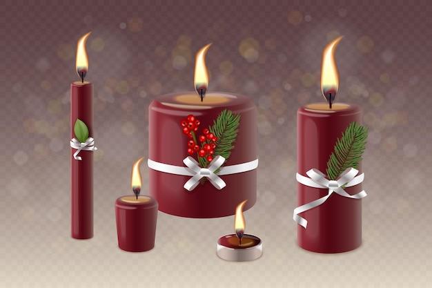 Zestaw realistycznych różnych świec bożonarodzeniowych