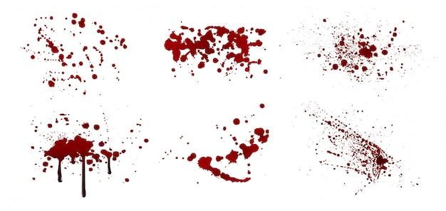 Zestaw realistycznych rozprysków krwi. upuść i plamy. plamy krwi na białym tle.