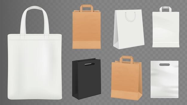 Zestaw realistycznych rzemieślniczych toreb na zakupy
