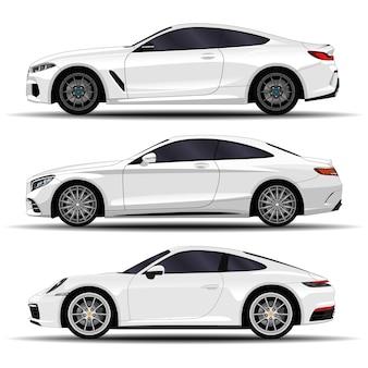 Zestaw realistycznych samochodów. sportowe coupe. widok z boku
