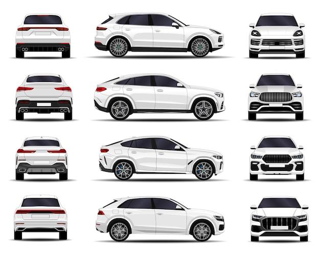 Zestaw realistycznych samochodów suv. przedni widok; widok z boku; widok z tyłu.