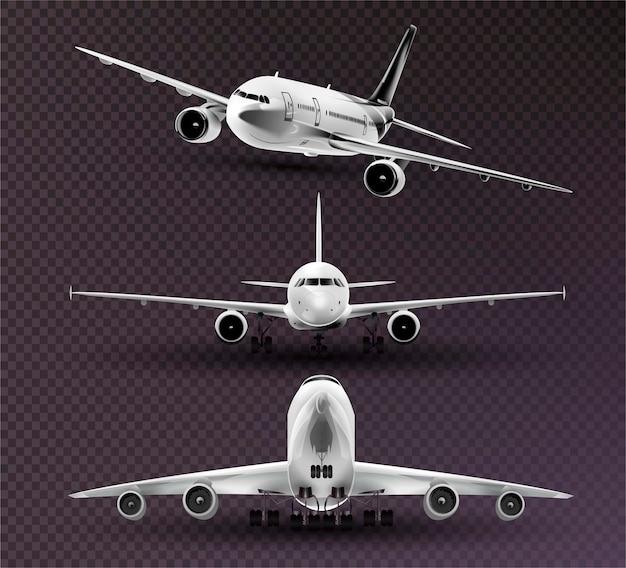 Zestaw realistycznych samolotów