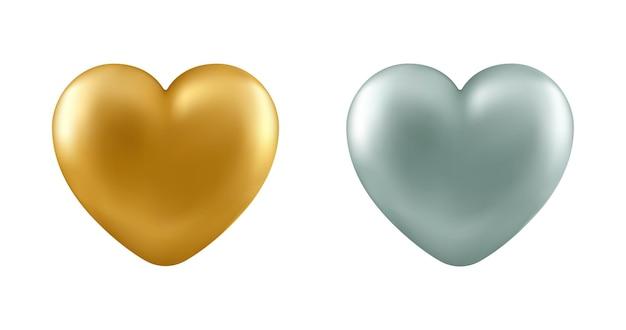 Zestaw realistycznych serc na białym tle. dekoracyjne elementy wystroju na walentynki, karty miłości, ślub.