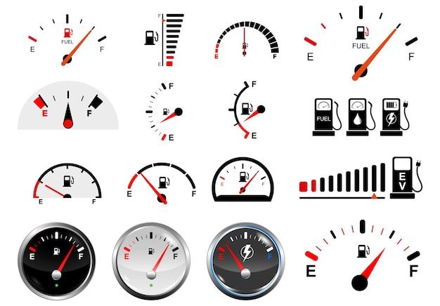 Zestaw realistycznych skal wskaźników paliwa na białym tle