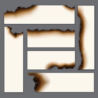 Zestaw realistycznych spalonych pustych arkuszy papieru