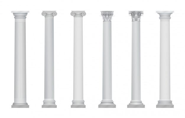 Zestaw realistycznych starożytnych greckich rzymskich stolic kolumn.