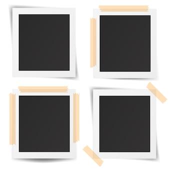 Zestaw realistycznych starych ramek do zdjęć na białym tle