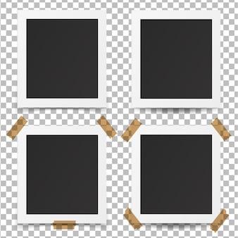 Zestaw realistycznych starych ramek do zdjęć.
