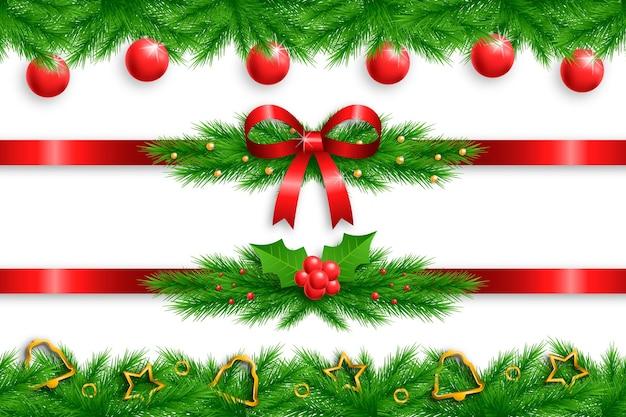 Zestaw realistycznych świątecznych ramek i granic