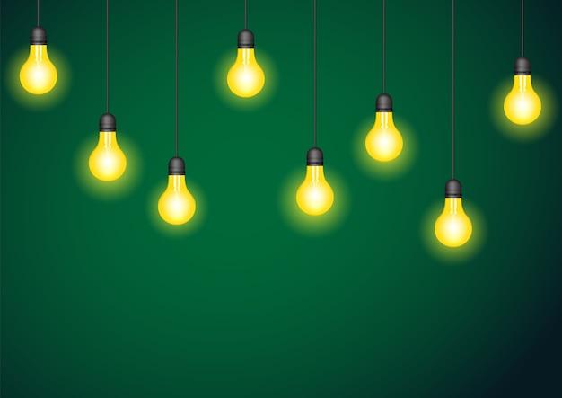 Zestaw realistycznych świecących lamp wiszących. ilustracja