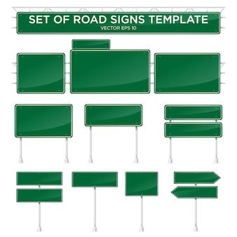 Zestaw realistycznych szablonów drogowych z kolorem zielonym