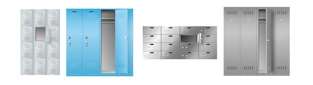 Zestaw realistycznych szafek do przechowywania w szkole, siłowni, poczcie lub banku, szablon na białym tle. zabezpieczone rzędy szaf stalowych. 3d ilustracji wektorowych