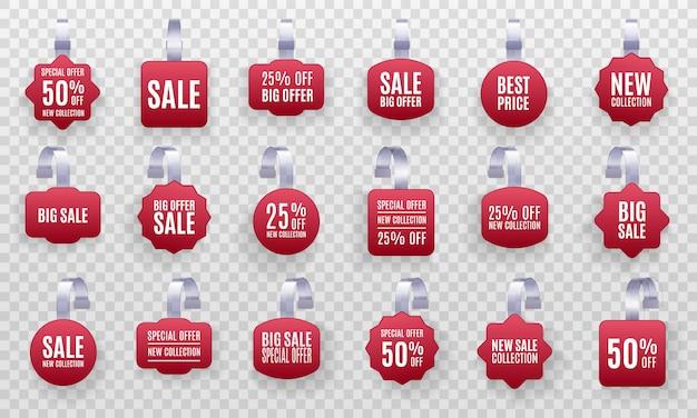 Zestaw realistycznych szczegółowych etykiet sprzedaży promocyjnej czerwonego woblera 3d na białym tle na przezroczystym tle. naklejka rabatowa, oferta specjalna, plastikowy baner cenowy, etykieta do twojego projektu.