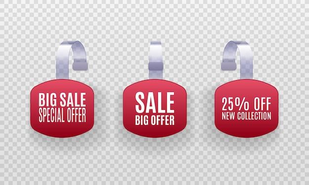 Zestaw realistycznych szczegółowych etykiet sprzedaży promocyjnej czerwonego woblera 3d na białym tle na przezroczystym tle.