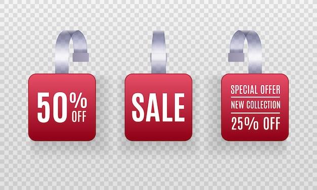 Zestaw realistycznych szczegółowych etykiet sprzedaży promocyjnej czerwonego woblera 3d