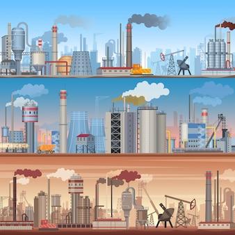 Zestaw realistycznych szczegółowych tła baneru przemysłowego. wektor szablony infografiki fabryki przemysłowe.