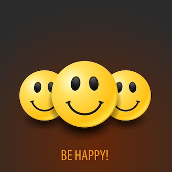 Zestaw realistycznych szczęśliwych emotikonów. pozytywna ilustracja.