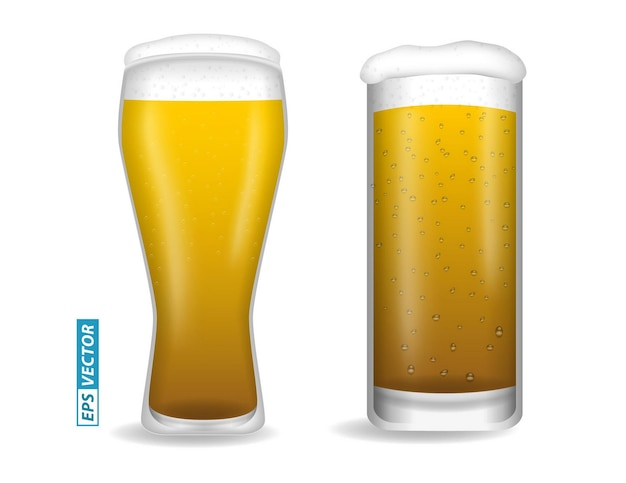 Zestaw realistycznych szklanek do piwa izolowanych lub pionowych z bliska piwo pełne szkło z wektorem bąbelkowym eps