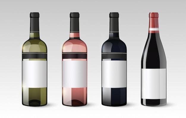 Zestaw realistycznych szklanych butelek