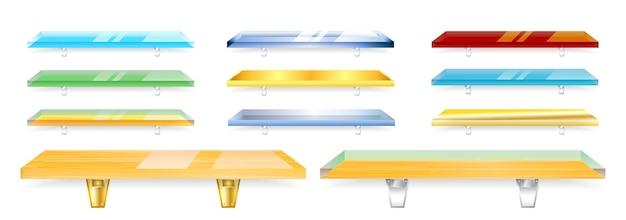 Zestaw realistycznych szklanych półek izolowanych lub przezroczystych szklanych półek do sklepu