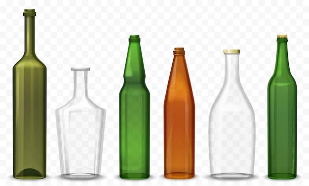 Zestaw realistycznych szklanych pustych butelek
