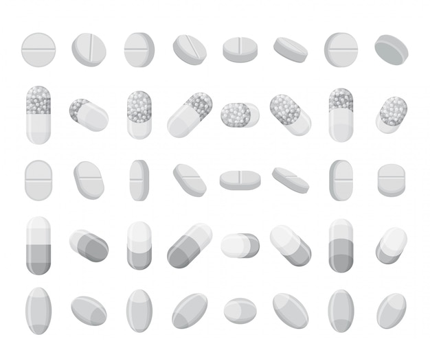 Zestaw realistycznych tabletek, tabletek i kapsułek. leki płaskie izometryczne 3d. na białym tle.