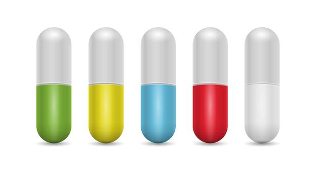Zestaw realistycznych tabletek
