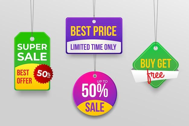 Zestaw realistycznych tagów sprzedaży
