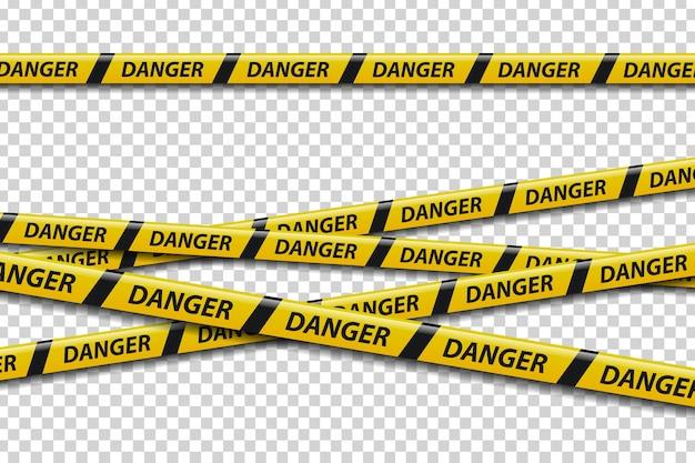 Zestaw realistycznych taśm ostrzegawczych na białym tle ze znakiem niebezpieczeństwa do dekoracji.