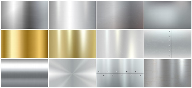 Zestaw realistycznych tekstur metalowych: szablony ze szczotkowanej stali, srebrnych i złotych powierzchni. kolekcja błyszczących chromowanych paneli gradientowych. ilustracja wektorowa