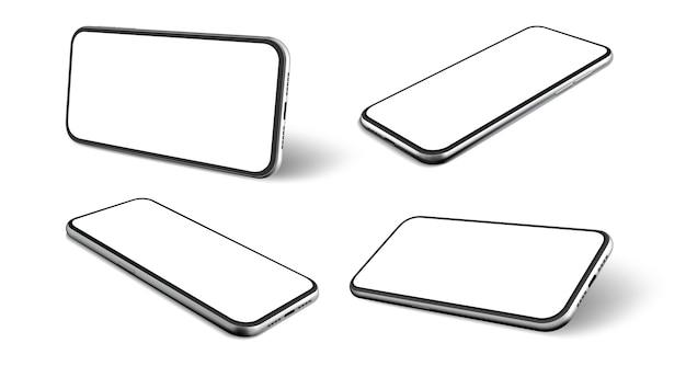 Zestaw realistycznych telefonów komórkowych. kolekcja ramki telefonu komórkowego w stylu realizmu z pustym wyświetlaczem