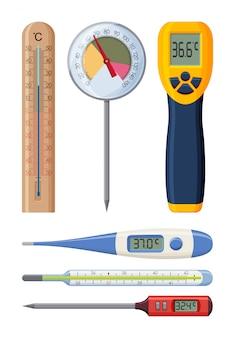 Zestaw realistycznych termometrów dla różnych potrzeb. medycyna i gotowanie. ilustracja.