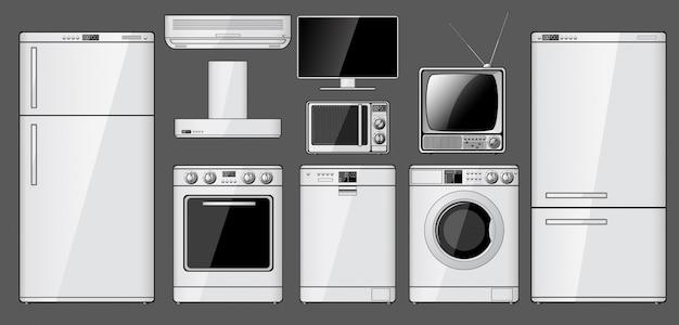 Zestaw realistycznych urządzeń gospodarstwa domowego