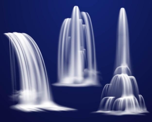 Zestaw realistycznych wodospadów