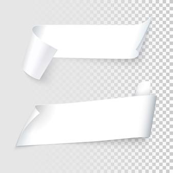 Zestaw realistycznych wstążek białego papieru