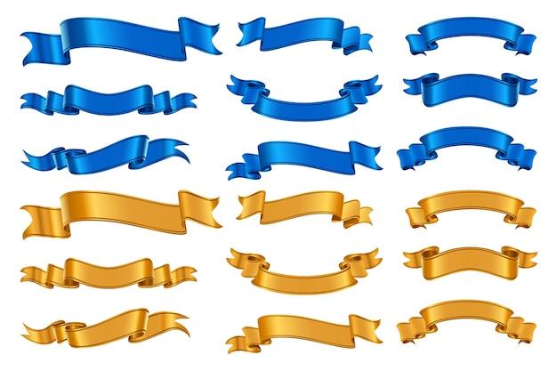 Zestaw realistycznych wstążek. kolekcja w stylu realizmu narysowana, machająca różną formą kolorowych świątecznych urodzinowych wstążek. ilustracja ozdobnych niebiesko-żółtych taśm lub graficznych banerów nagrody 3d