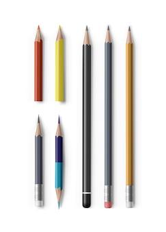 Zestaw realistycznych zaostrzonych ołówków różnych typów i długości
