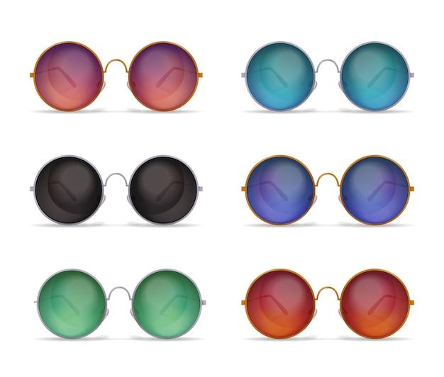 Zestaw realistycznych zdjęć na białym tle z sześcioma różnymi modelami kolorowych okrągłych okularów przeciwsłonecznych