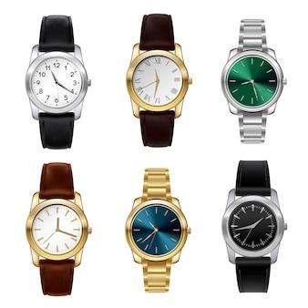 Zestaw realistycznych zegarków
