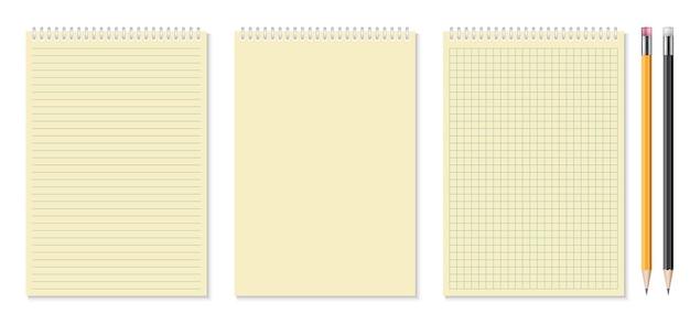 Zestaw realistycznych zeszytów i ilustracji ołówkiem