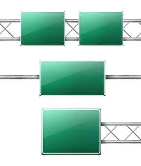 Zestaw realistycznych zielonych znaków drogowych autostrady