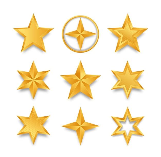Zestaw realistycznych złotych gwiazd na białym tle