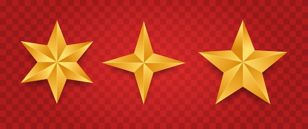 Zestaw realistycznych złotych gwiazd