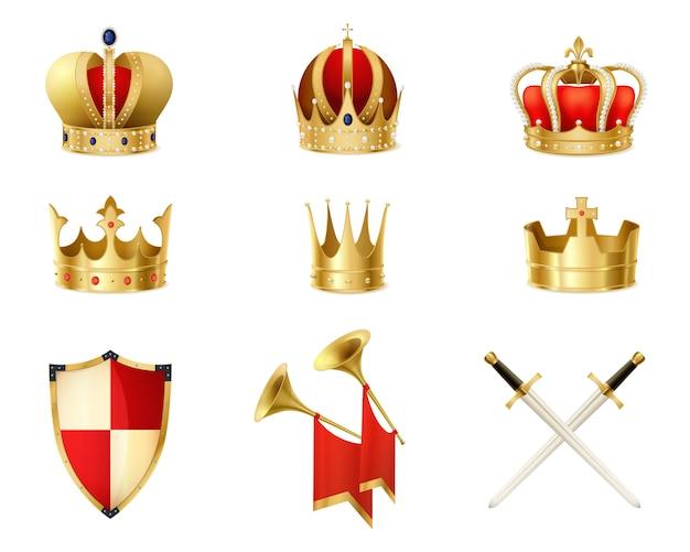 Zestaw realistycznych złotych koron królewskich