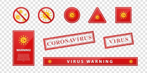 Zestaw realistycznych znaków ostrzegawczych wirusa i koronawirusa do dekoracji szablonu na przezroczystym tle.