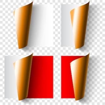 Zestaw realistycznych zwiniętych rogów papieru w kolorze białym, czerwonym i złotym z cieniami