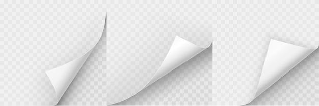 Zestaw realistycznych zwiniętych rogów papieru
