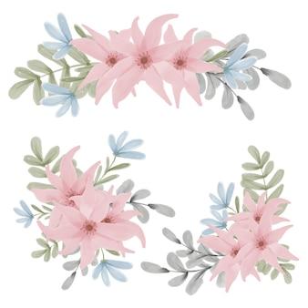 Zestaw ręcznie malowanych akwarela bukiet kwiatów